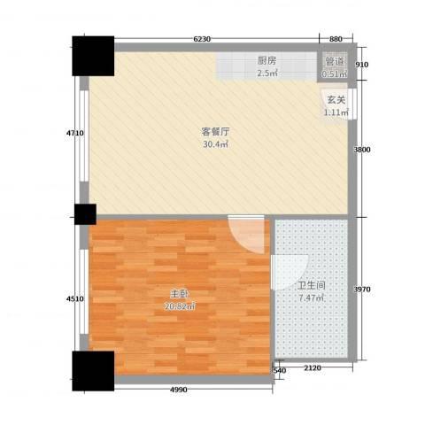 时代国际1室2厅1卫0厨74.00㎡户型图