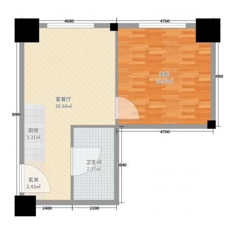 时代国际1室2厅1卫0厨75.00㎡户型图