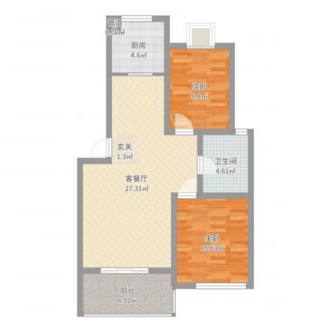 海上印象2室2厅1卫1厨77.00㎡户型图