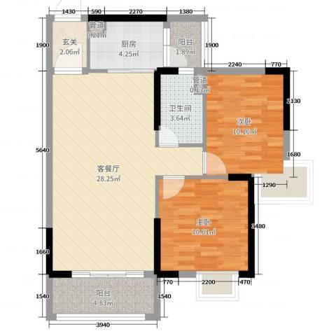 沃华・时代广场2室2厅1卫1厨90.00㎡户型图