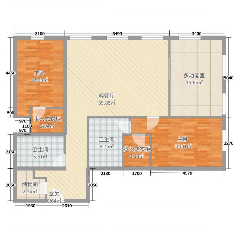 万国城MOMA148.00㎡F1户型2室2厅2卫1厨