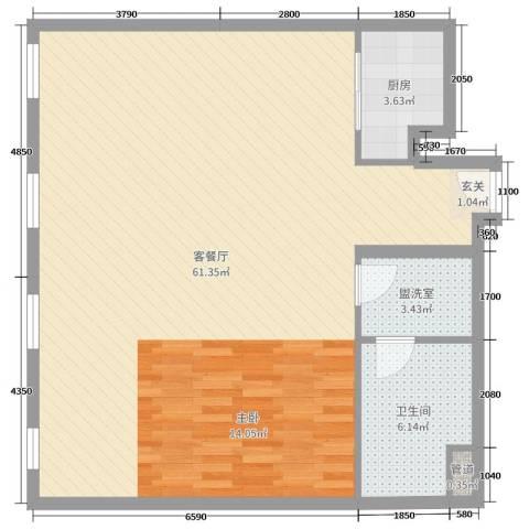 万国城MOMA2厅1卫1厨102.00㎡户型图