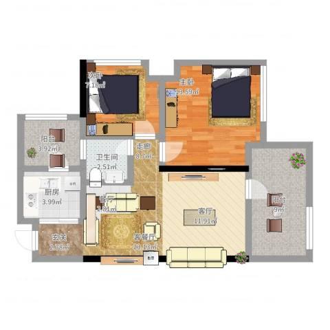龙华花半里2室2厅1卫1厨93.00㎡户型图