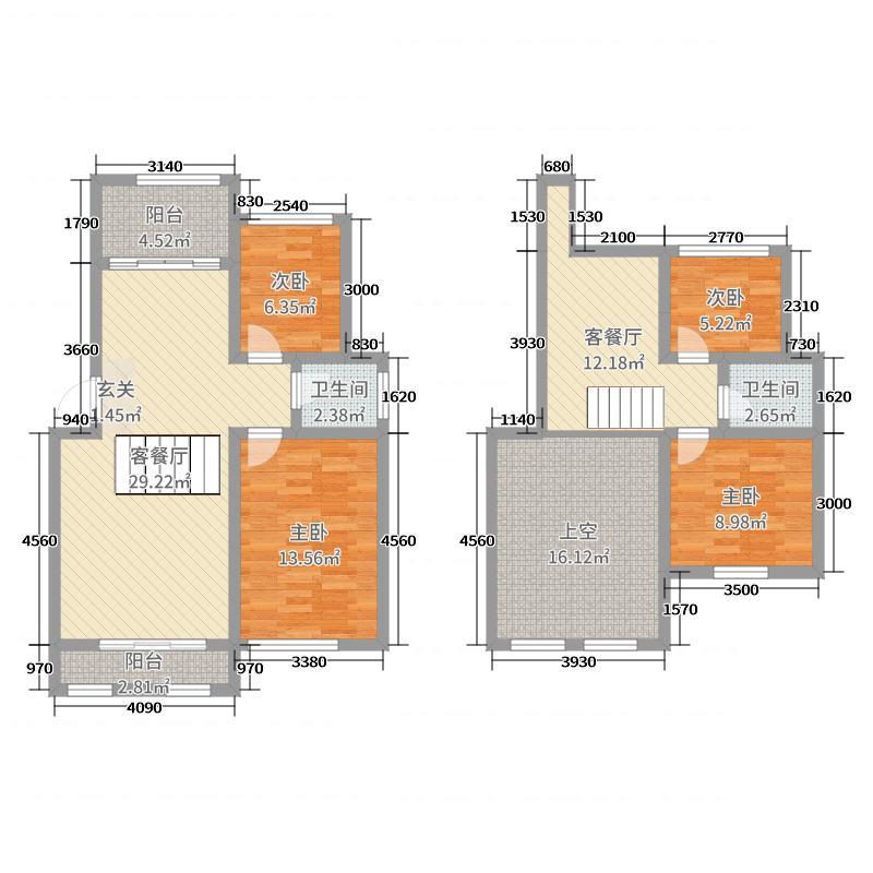 建桥香格里拉130.00㎡C户型4室4厅2卫1厨