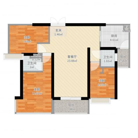 广发花园3室2厅2卫1厨78.00㎡户型图