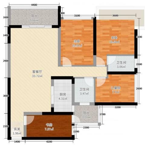天峦湖4室2厅2卫1厨110.00㎡户型图