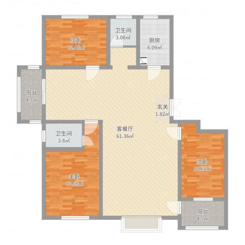 明潭府3室2厅2卫1厨157.00㎡户型图