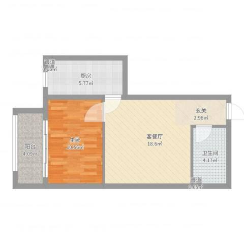 燕丰园1室2厅1卫1厨54.00㎡户型图
