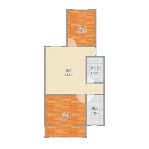 冯村西里2室1厅1卫1厨78.00㎡户型图