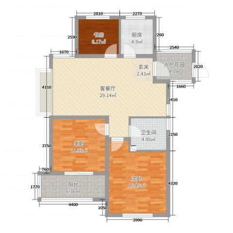 御园3室2厅1卫1厨105.00㎡户型图