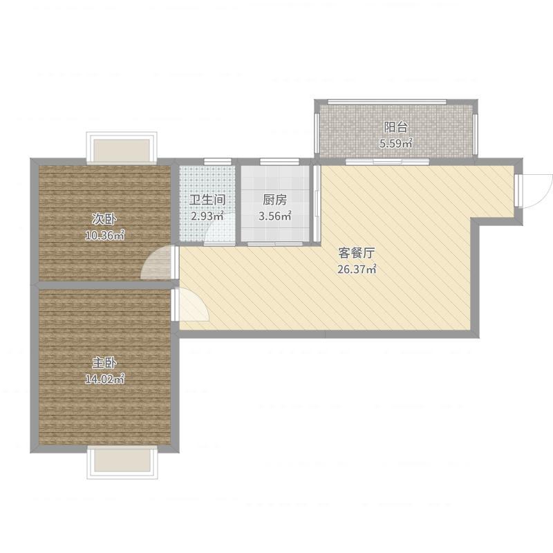 百花沁苑B户型 两室两厅一卫  现代简约