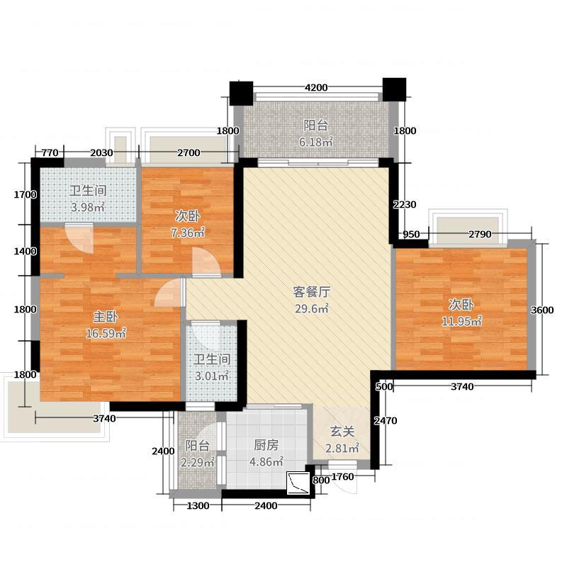 加州花园二期109.44㎡1栋02/07单位3栋02/07单位户型3室3厅2卫