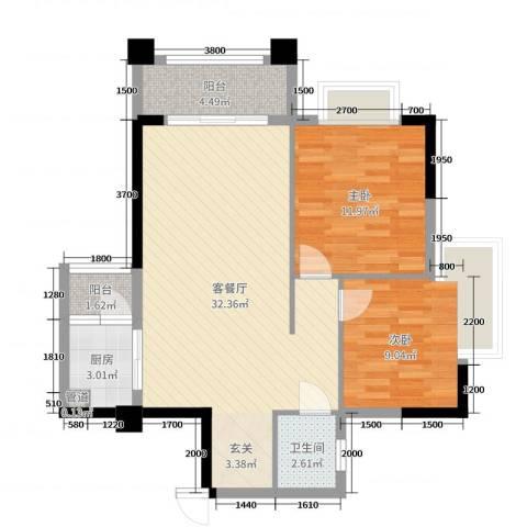 加州花园二期2室2厅1卫1厨80.00㎡户型图