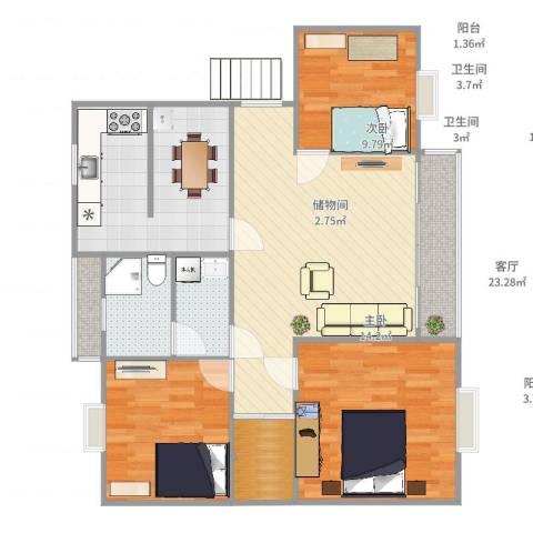 万欣花园3室1厅2卫1厨114.00㎡户型图