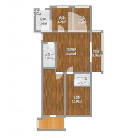 易居公馆2室2厅2卫1厨98.00㎡户型图