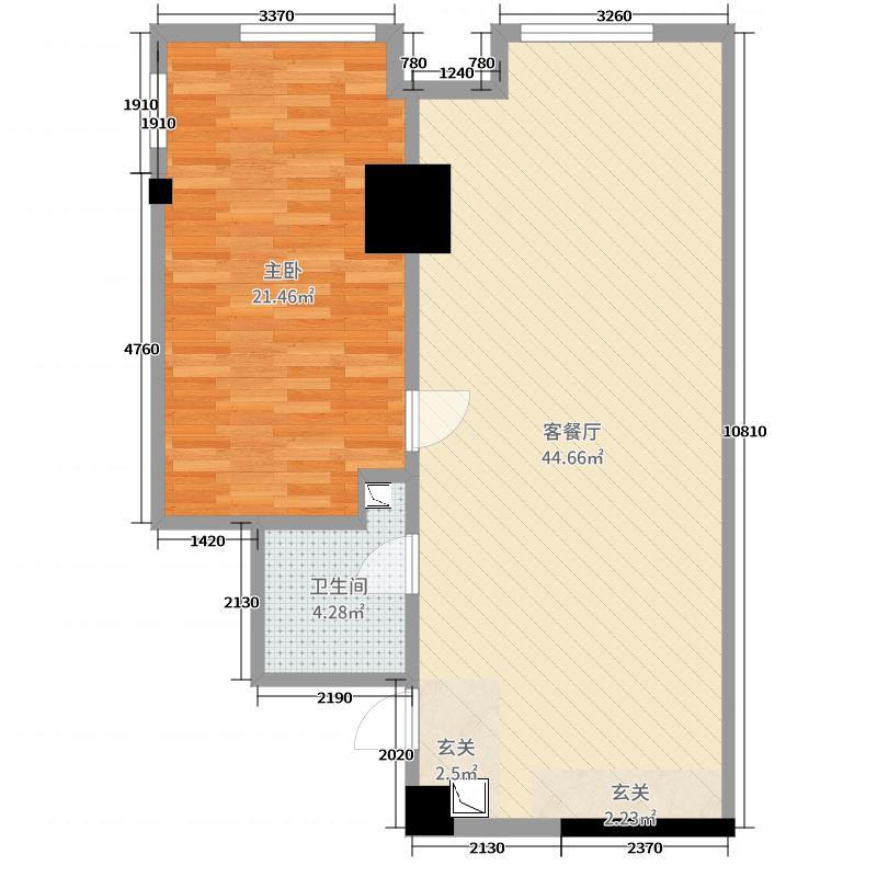 智慧MINI国际88.00㎡K1户型1室1厅1卫1厨