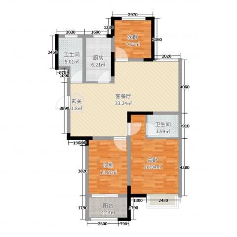 港龙・景山秀水3室2厅2卫1厨112.00㎡户型图