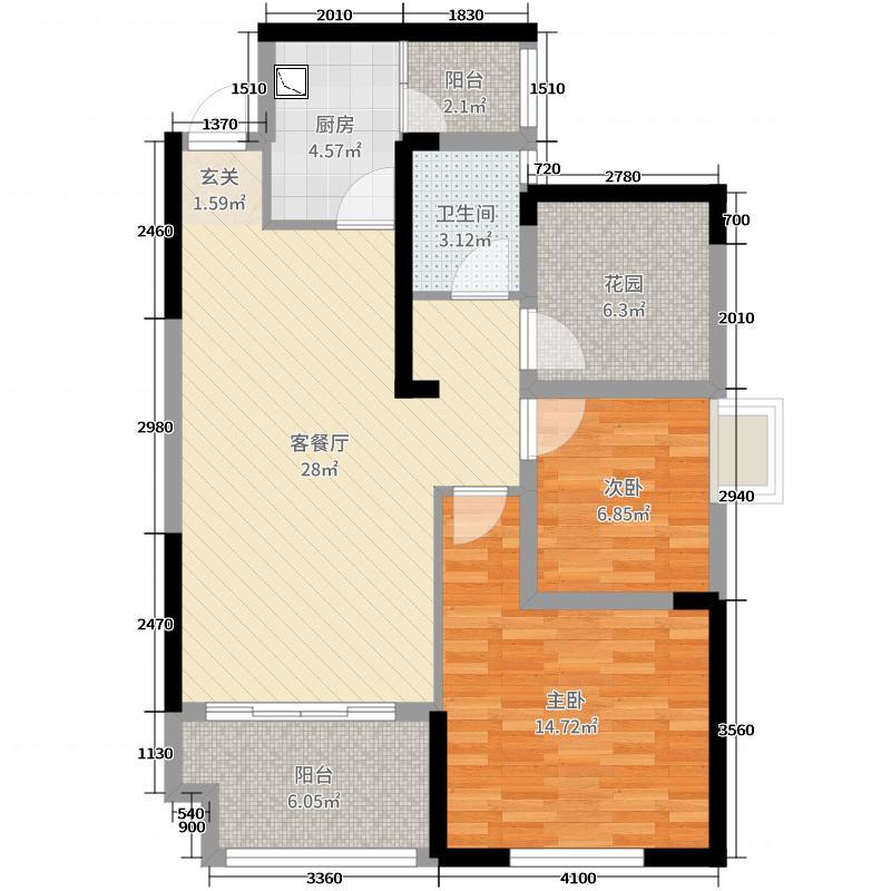 今时艺苑91.00㎡户型3室3厅1卫1厨