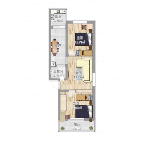 长风小区2室2厅1卫1厨73.00㎡户型图