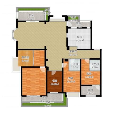 天正滨江3室2厅2卫1厨248.00㎡户型图