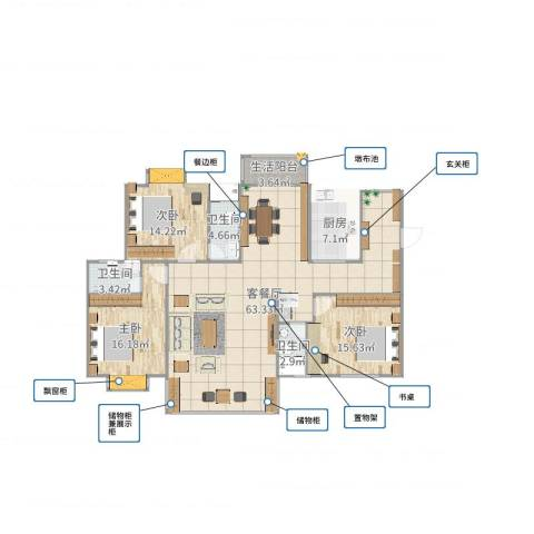 丽景华庭3室2厅3卫1厨164.00㎡户型图