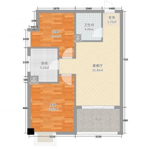 梅林国际2室2厅1卫1厨75.00㎡户型图