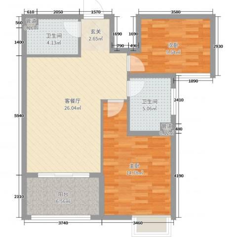 梅林国际2室2厅2卫0厨83.00㎡户型图