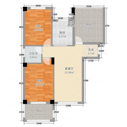 梅林国际2室2厅1卫1厨88.00㎡户型图