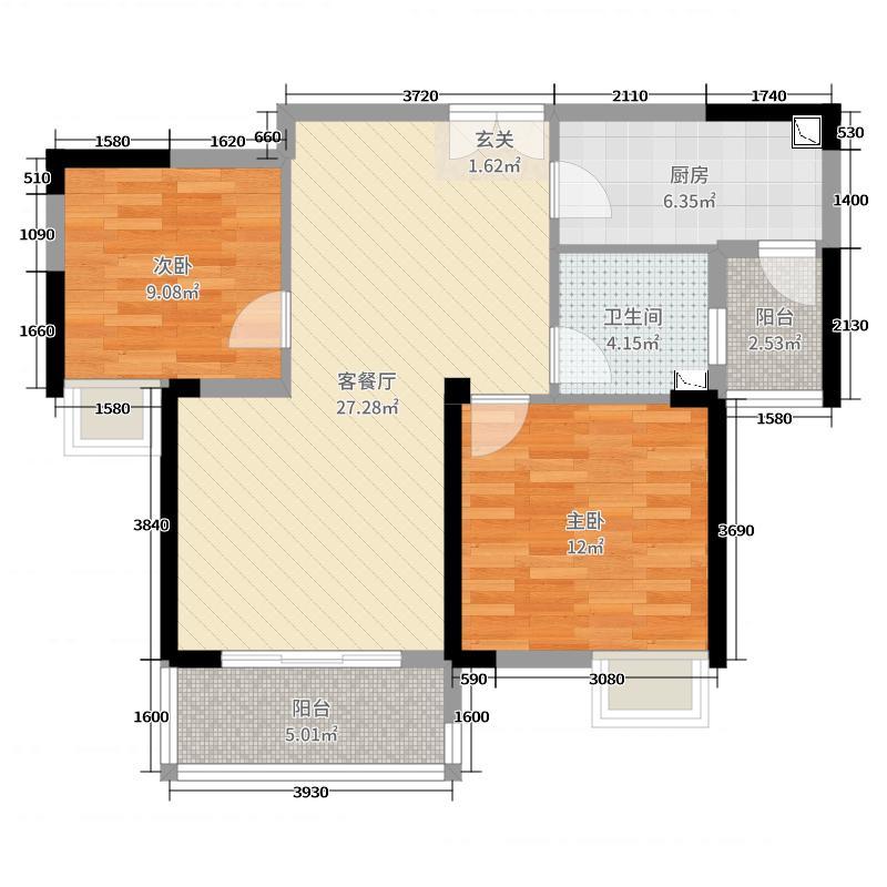 恒基水漾花城花苑83.00㎡五期23#25#标准层b1户型2室2厅1卫1厨