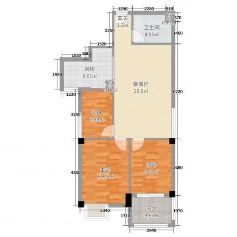 梅林国际3室2厅1卫1厨89.00㎡户型图