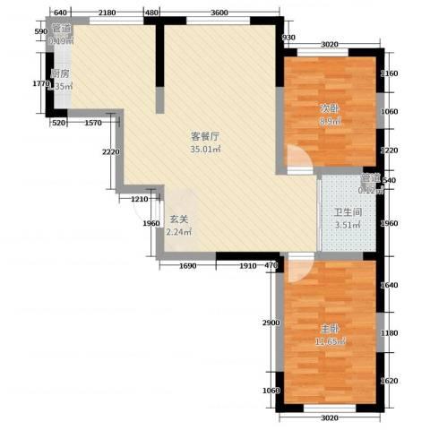 东逸美郡二期2室2厅1卫0厨92.00㎡户型图