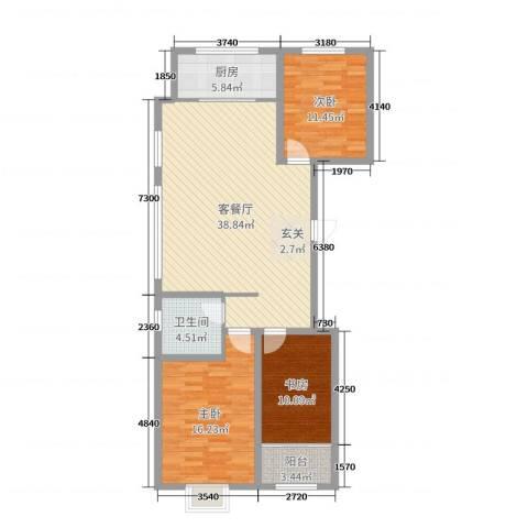 民生凤凰城3室2厅1卫1厨113.00㎡户型图