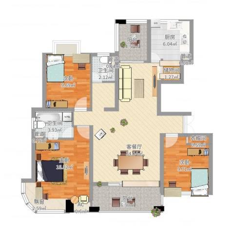 九溪江南3室2厅2卫1厨140.00㎡户型图