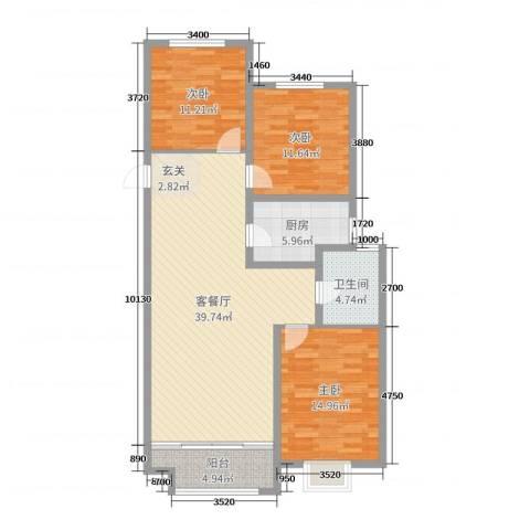 民生凤凰城3室2厅1卫1厨116.00㎡户型图