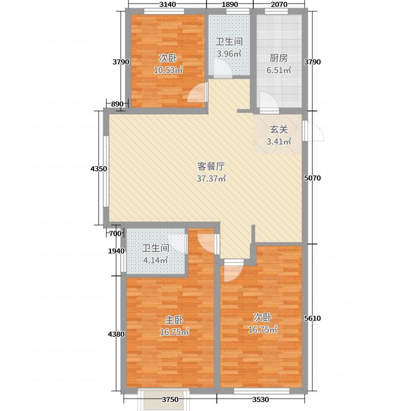 民生凤凰城120.00㎡E户型3室3厅2卫1厨
