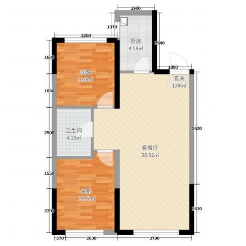 美的城2室2厅1卫1厨86.00㎡户型图