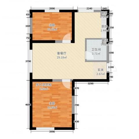 东逸美郡二期2室2厅1卫0厨95.00㎡户型图