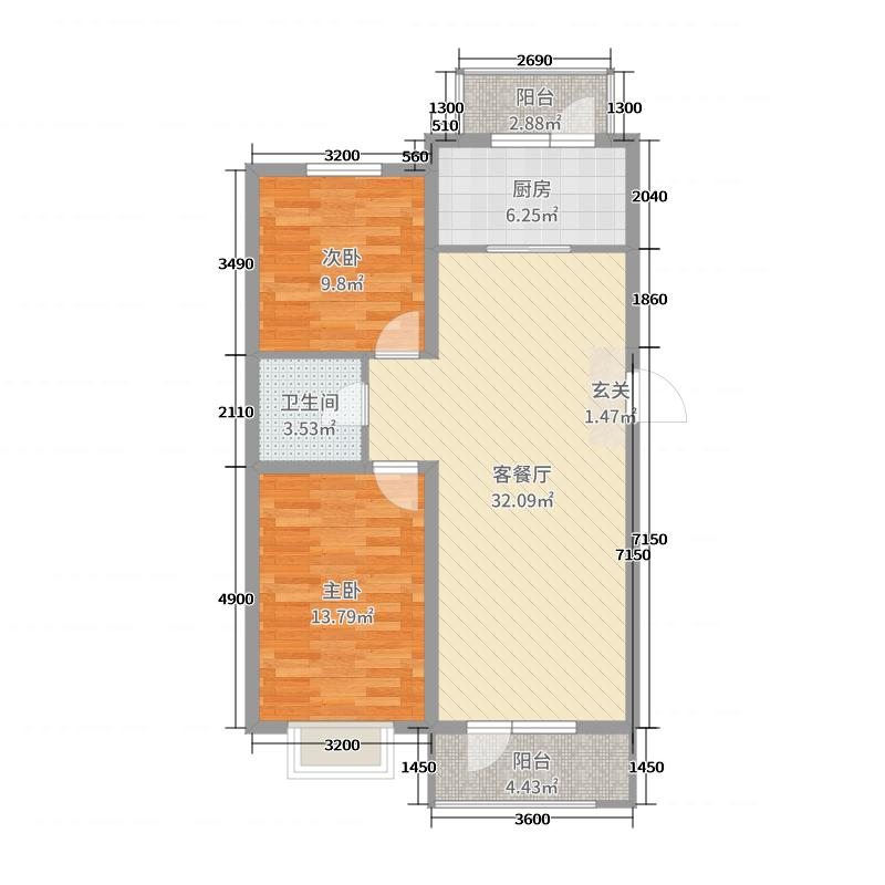 坤博幸福城88.95㎡S-3户型2室2厅1卫1厨
