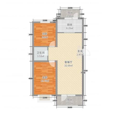 坤博幸福城2室2厅1卫1厨89.00㎡户型图