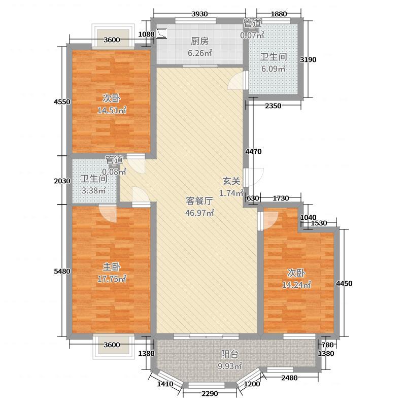 金马怡园149.00㎡高层35号楼1户型3室3厅1卫1厨