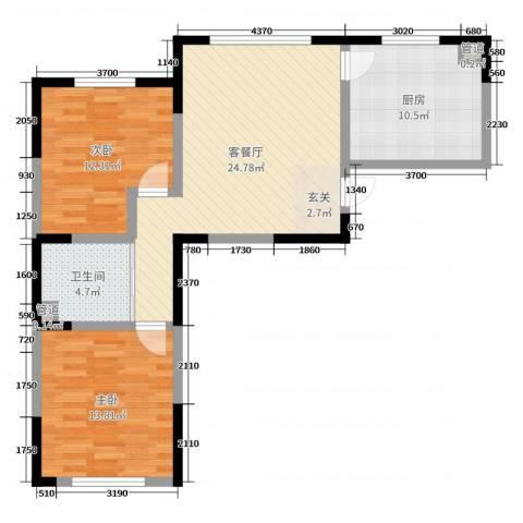 东逸美郡二期2室2厅1卫1厨103.00㎡户型图