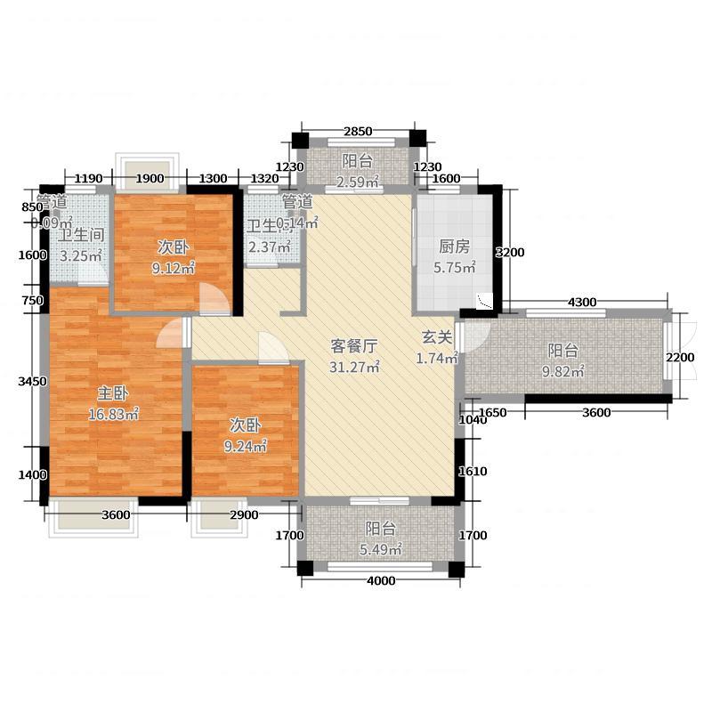 御龙国际117.11㎡6幢03/7幢01户型3室3厅2卫1厨
