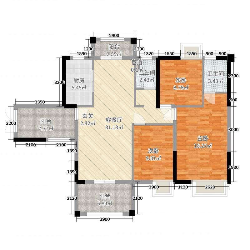御龙国际115.84㎡6幢01/7幢03户型3室3厅2卫1厨