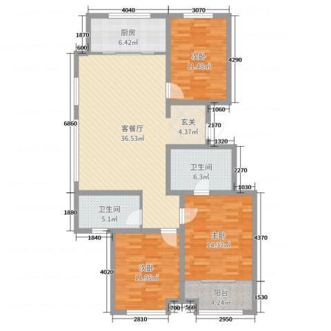 民生凤凰城3室2厅2卫1厨121.00㎡户型图