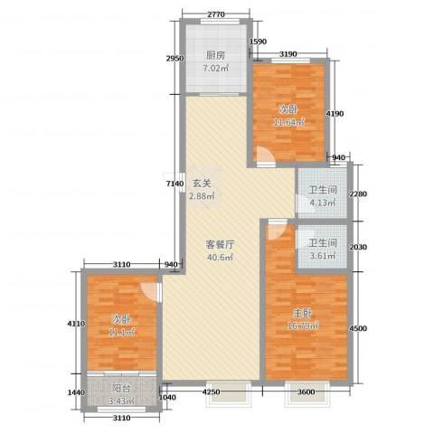 民生凤凰城3室2厅2卫1厨123.00㎡户型图