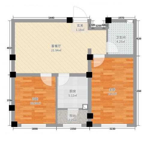 实华・新兴佳园2室2厅1卫1厨74.00㎡户型图
