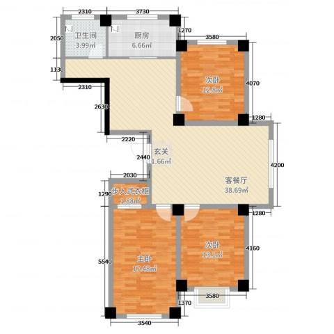 实华・新兴佳园3室2厅1卫1厨118.00㎡户型图