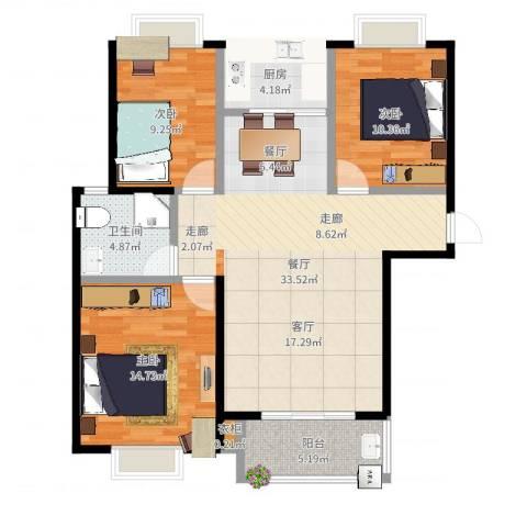 金猴北城名居3室1厅1卫1厨103.00㎡户型图
