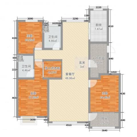 辰隆星河城3室2厅2卫1厨157.00㎡户型图