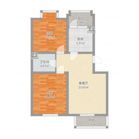 第六大道大洋嘉园2室2厅1卫1厨84.00㎡户型图